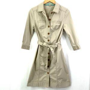 BODEN Trench Coat Style Safari Shirt Dress Beige